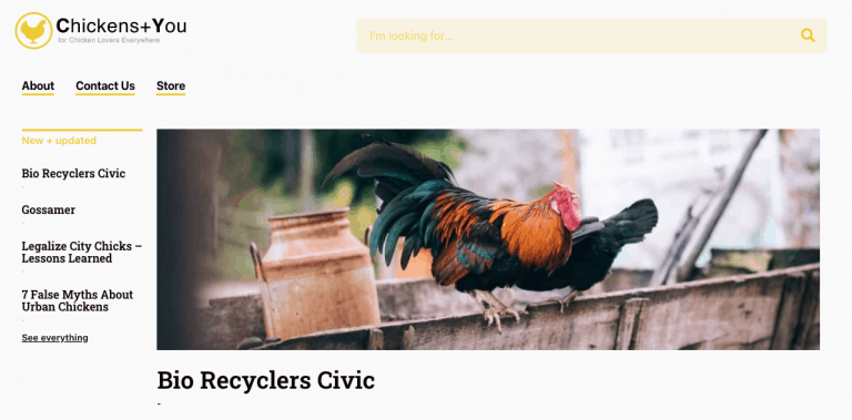 site design for chickensandyou.com